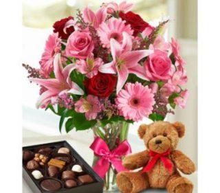 harga bunga valentine dengan bonek dan cokelat