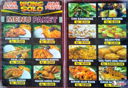 Menu & Harga Ayam Bakar Wong Solo di Surabaya