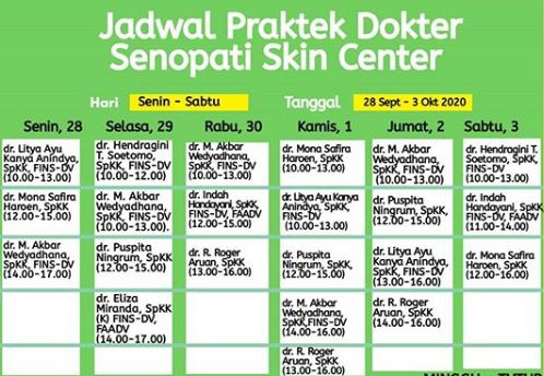 Jadwal Dokter Senopati Skin Center