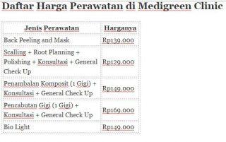tabel harga perawatan medigreen
